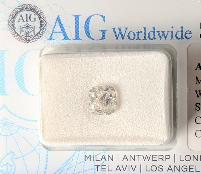 Diamant - 1.02 ct - Cushion - G - SI3, No Reserved Price