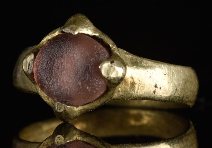 Viking Silver Gilt Ring with Purple Gem