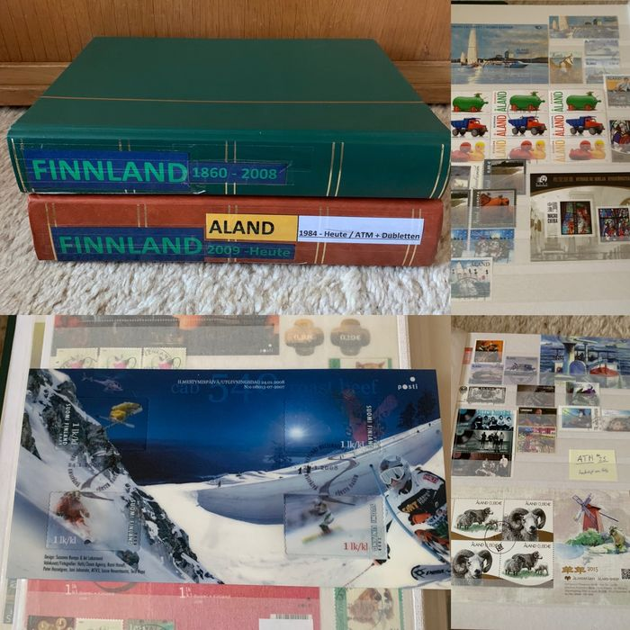 Åland-eilanden 1860/2018 - 2 thick albums from Finland from classical to modern period with postage value and Åland (1984 to