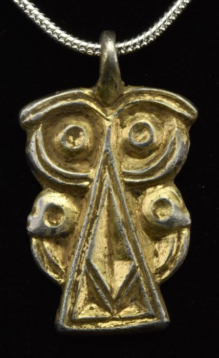 Migration Period  / Hunic or Gothic Gilded Silver Pendant with Eagle Heads