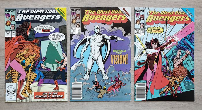 """West Coast Avengers #42, 43, 44, 45, 46 - """"Behold the Vision"""" by John Bryne - The Vision rebooted! - The fate of Wanda's twins! - Key issues! - Super Hot! - Higher Grade - Geheftet - Erstausgabe - (1989)"""