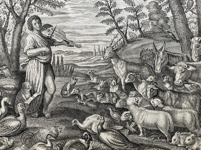 Lot of 2 engravings by Pieter Clouwet (1629-1670) after Abraham Diepenbeek (1596-1675) - Orpheus Playing Violin with Animals & Orpheus in Hell