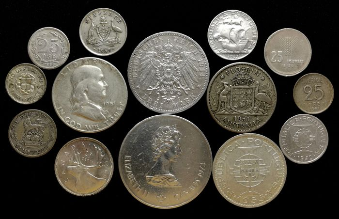 World. Lot various coins 1880/1973 (14 pieces)