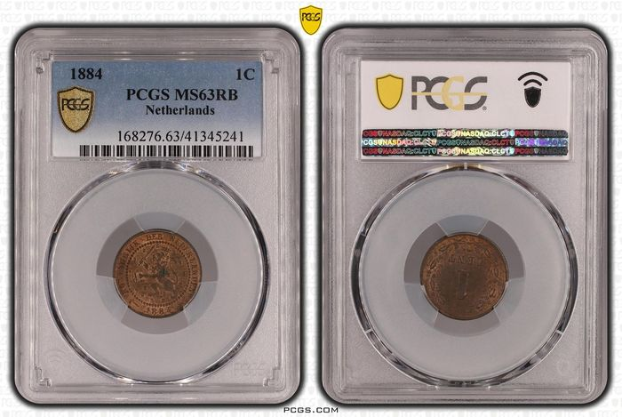 Netherlands. Willem III (1849-1890). 1 Cent 1884 in PCGS slab MS63 RB