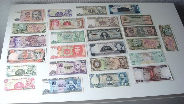 World - 25 South American Banknotes - Various dates - including Cuba replacement