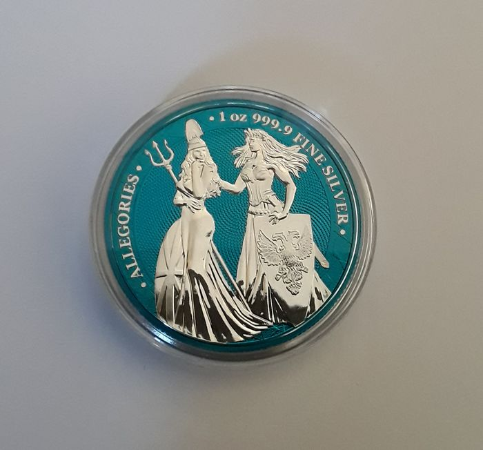 Germany. 5 Mark 2019 The Allegories  Britannia and Germania - Space Blue Edition - 1 OZ