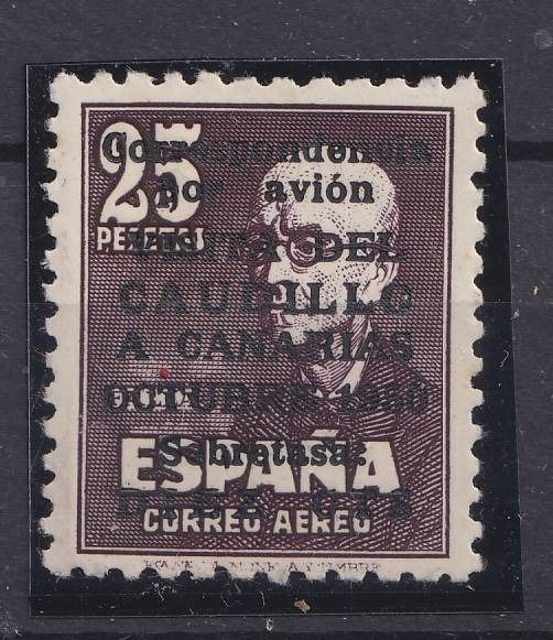 Spanien 1951 - Franco's visit to the Canary Islands. Overprinted airmail stamp. Signed Calves. - Yvert PA 246