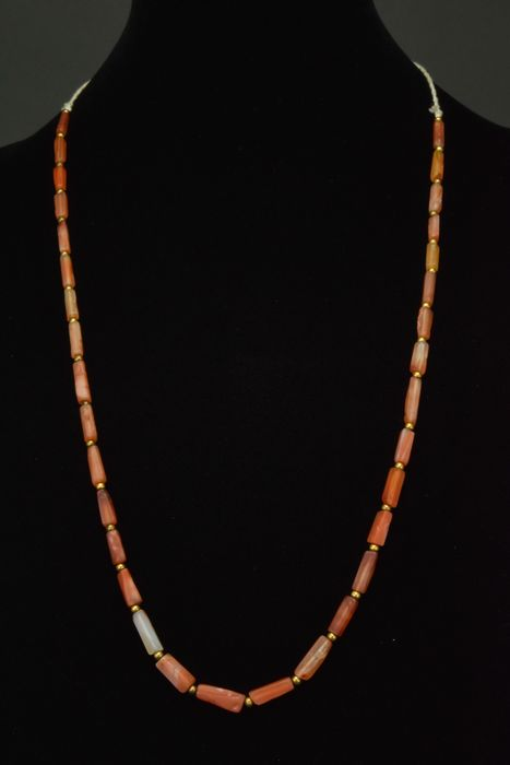 Ancient Roman Carnelian and Bronze Wearable Necklace