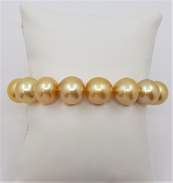 No reserve price - Large 12x13mm 24K Golden Saturation South Sea Pearls Gold - Armband