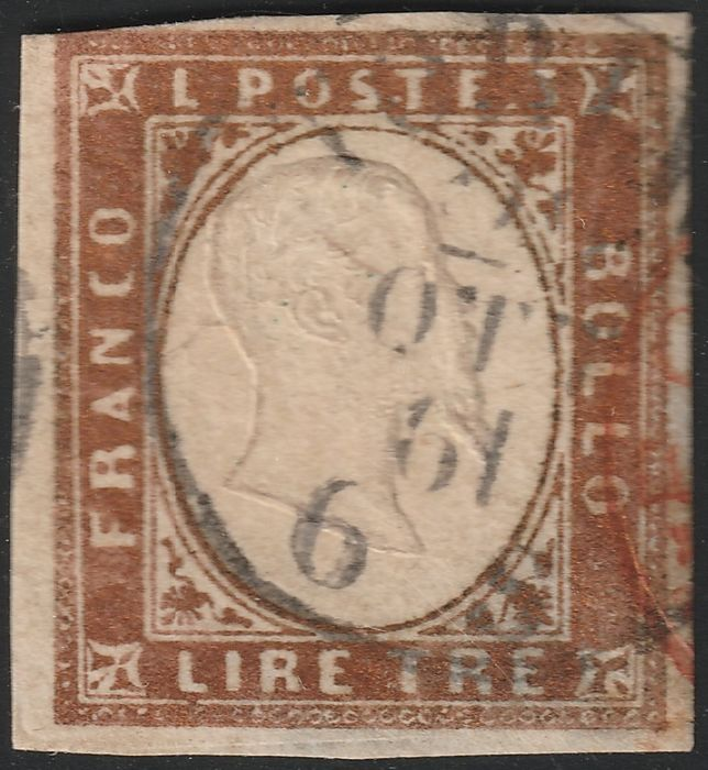 Anciens états italiens - Sardaigne 1861 - 4th issue 3 lire dark copper, large margins, used, very rare and certified - Sassone N.18Aa