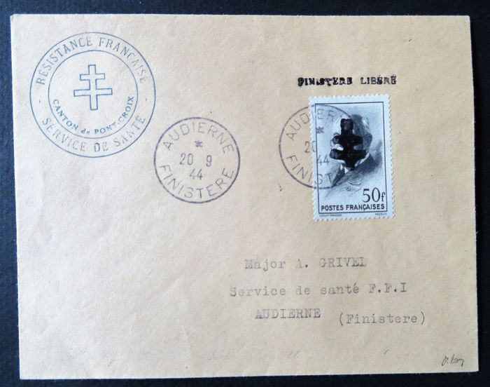Frankreich 1944 - 1 cover, liberation of Audierne, signed Mayer. - MAYER 2018