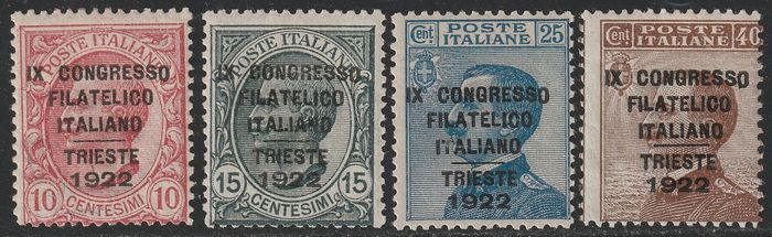 Kingdom of Italy 1922 - Congress of Trieste, complete set with variety, intact, rare and certified - Sassone S.22 - NN.123/125+126d