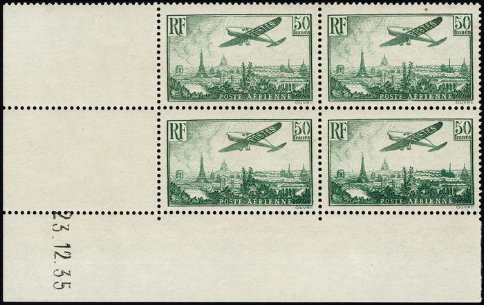 Francia 1935 - Aeroplane flying over Paris, 50 francs yellow-green, block of 4, dated corner. - Yvert Poste aérienne 14