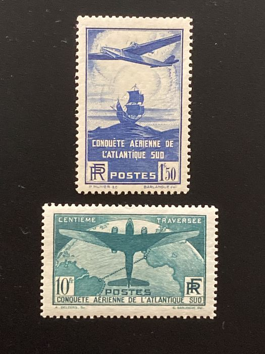 Frankrijk - 1936, Atlantic crossing 320 and 321, including 321 signed Calves. - Yvert