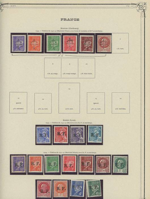 Frankreich 1944/1945 - Set of liberation stamps: Cherbourg, Poitiers, Annemasse, Nevers... - Value: over 1800. - mayer