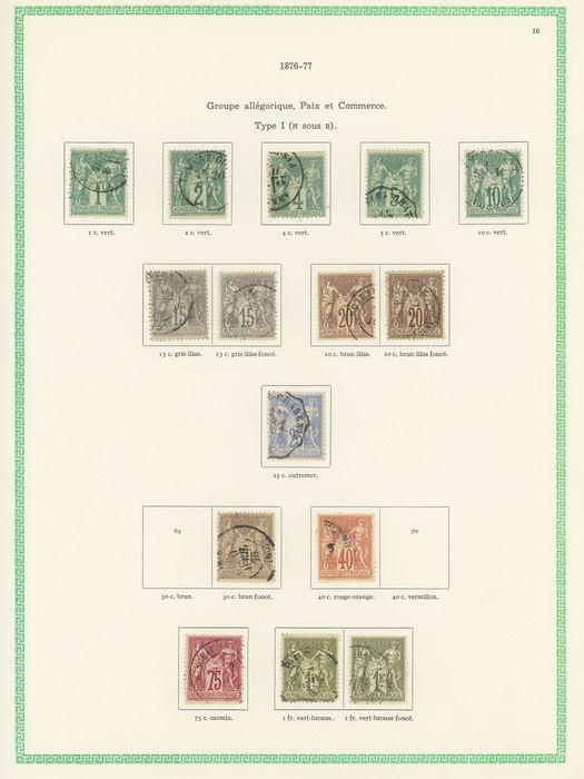 Frankreich 1876/1900 - A set of classic Sage stamps, types I and II, with duplicates for shades. Value: over 2600. - Yvert Entre les n°61 et 106