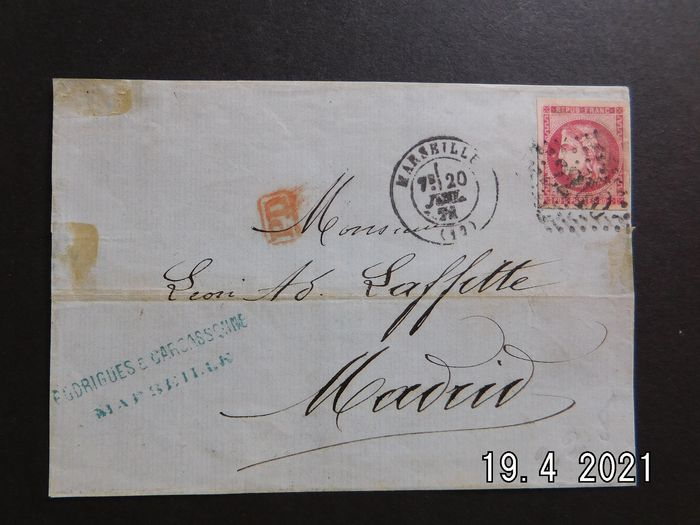 France - France, 1876, front of a letter bound for Madrid with a No. 49, very lovely margin. Rare. Value: