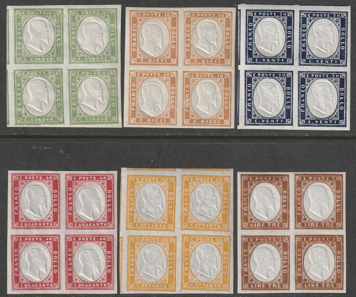 Italienische antike Staaten - Sardinien 1862/63 - 4th issue Complete set in intact blocks of four, large margins, luxury, very rare and certified - Sassone NN.13E/18A
