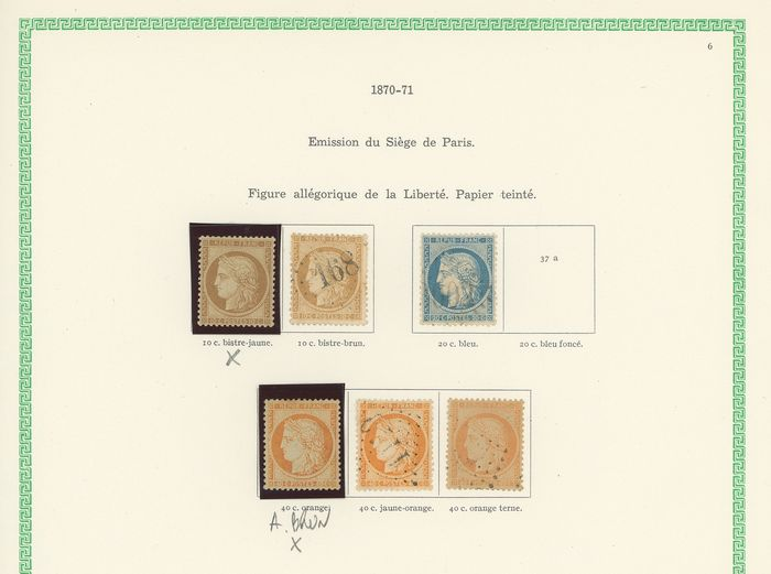 France 1870/1871 - A lovely set of classic Ceres, siege, and Bordeaux stamps with duplicates for shades.  Value: over - Yvert Entre les n°36 et 49