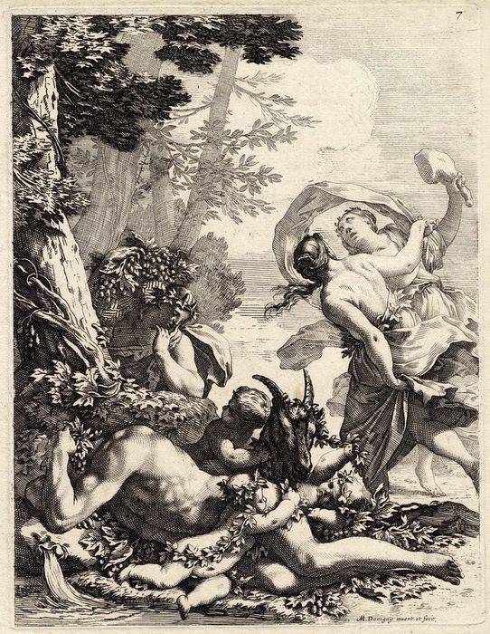 Michel Dorigny (1616-1665) - Resting bacchant with putti, goat and female bacchant.