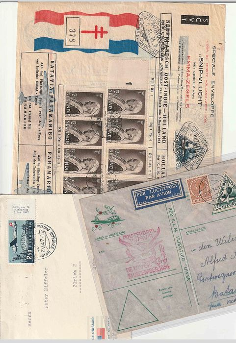 Europe 1930/1980 - 35 x airmail letters with KLM and Swissair