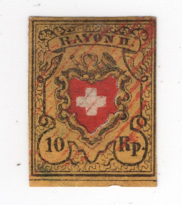 """Switzerland 1850 - """"RAYON II"""", stone B, retouched coat-of-arms frame and Swiss lozenge in red - Zumstein Nr. 16 ll.3.10"""