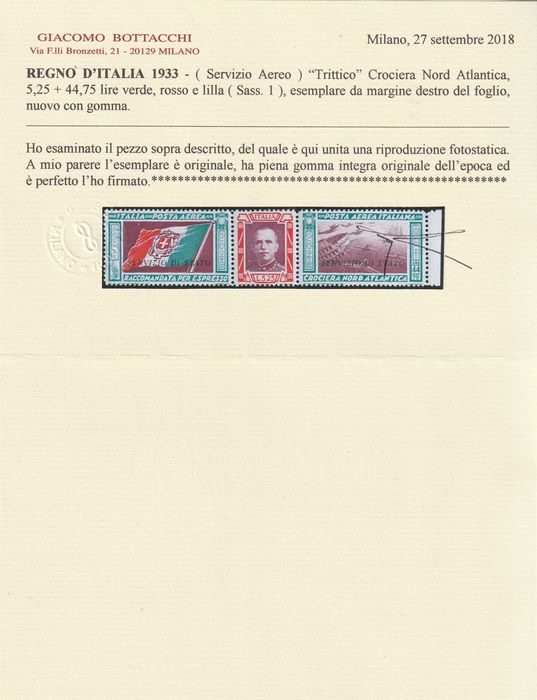 Royaume d'Italie 1933 - State Service, North-Atlantic Cruise triptych 50 l. centred, sheet margin, intact, rare and - Sassone N.1