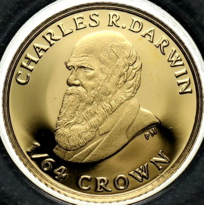 Falkland Islands (British Overseas Territory). 1/64 Crown 2009 'Charles Darwin 1809 - 1882' - with a Certificate of Authenticity