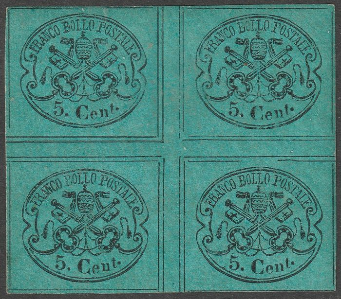 Italian Ancient States - Papal State 1867 - 2nd issue 5 c. central block of four of the sheet with vertical and horizontal gutter, rare, luxury, - Sassone N.15 INTER
