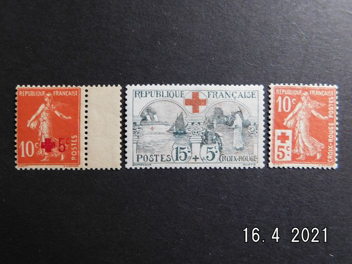Frankrijk - 1914/1918, for the benefit of the Red Cross, mint without hinge, No. 146, 147 and 156,  signed