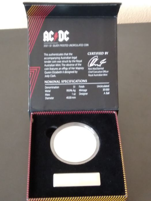 Australia. 1 Dollar 2021 Frosted AC/DC -  1 Oz