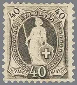 Zwitserland 1891 - Standing Helvetia 40 centimes grey perforated 11½ x 11 with wide control mark 69C