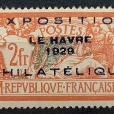 "Frankrike 1929 - 2 francs Merson with ""Exposition philatélique du Havre"" overprint, very fresh and VF. Value: €1600. - Yvert 257A"