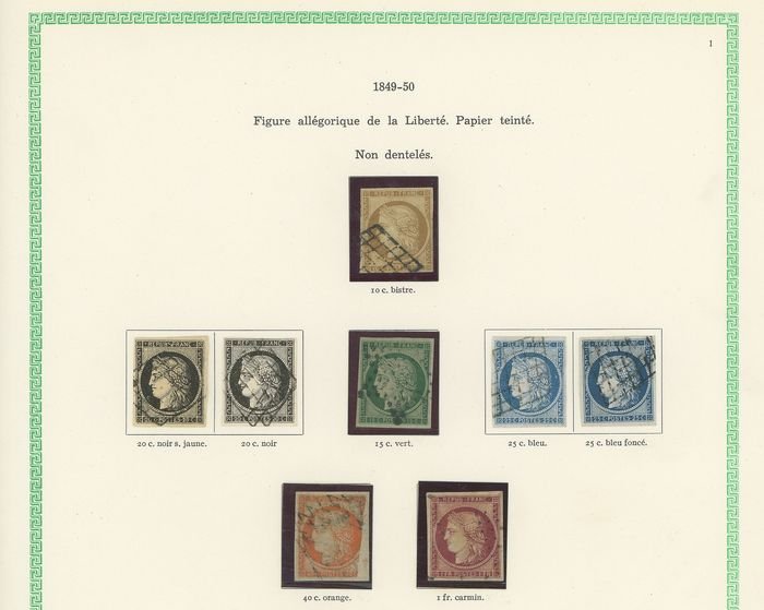 Frankreich 1849/1852 - Very lovely set of classic Ceres and Napoleon stamps, including no. 10b mint*, signed Calves... - Yvert Entre les n°1 et 10