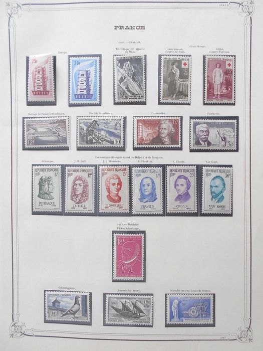 Frankreich 1956/1974 - A very lovely MNH and complete collection of modern stamps on YT pages. - Yvert Entre les n°1076 et 1798