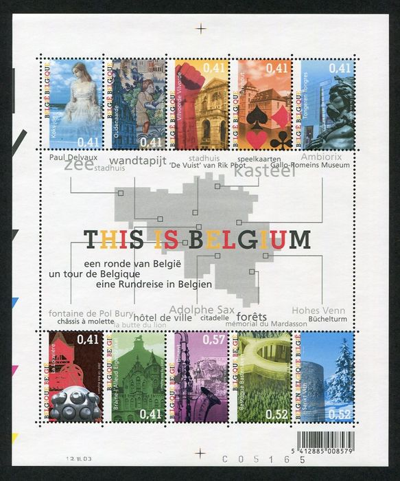 Belgium 2003 - Year as published by Bpost in accordance with Davo album sheets + stamp from booklet