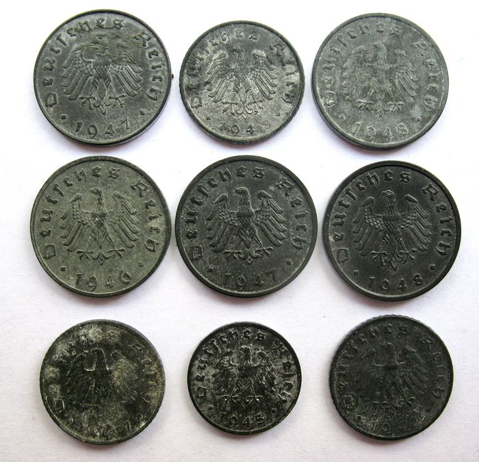 Duitsland. 1, 5 and 10 Pfennig 1945/1948 Allied occupation Post WW II coinage (9 different coins)