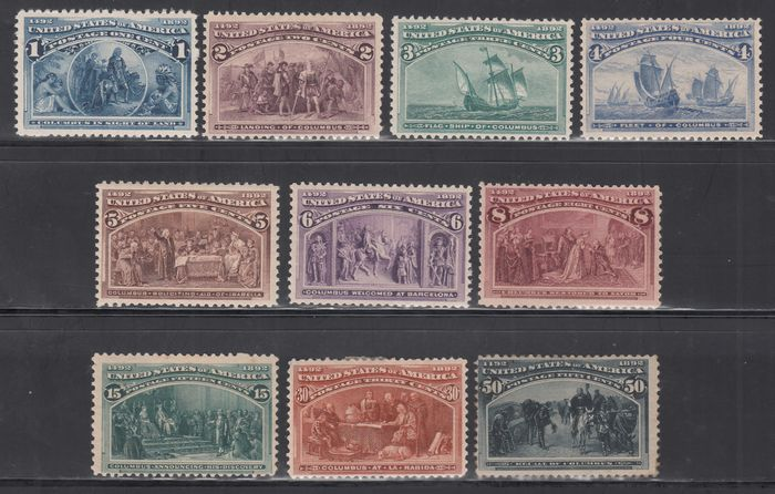 United States of America 1893 - Centennial of the discovery of America, different values - Yvert 81, 82, 83, 84, 85, 86, 87, 89, 90, 91,
