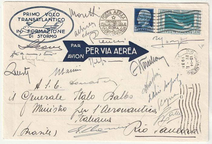 Kingdom of Italy 1933 - Balbo cruise of Brazil 1930 - Airmail 7.70 L. + 1.25 L. on aerogramme with signatures of the pilots - Sassone N.25