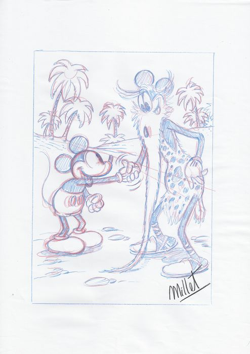 Mickey Mouse - Millet - DIN A3 - Original Sketch Drawing