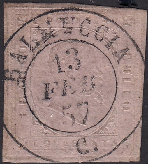 Italienische antike Staaten - Sardinien 1857 - 2nd issue 40c light pink used with d.c. and C of BALMUCCIA 13 FEB 57 - Sassone N. 6