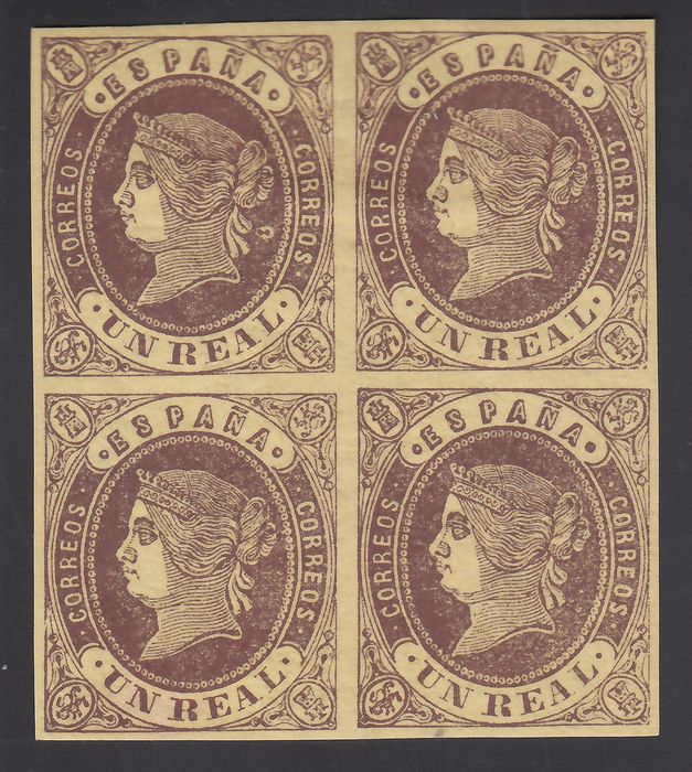 Spanje 1862 - Isabella II, 1 r. chestnut over yellow, block of four - Edifil 61