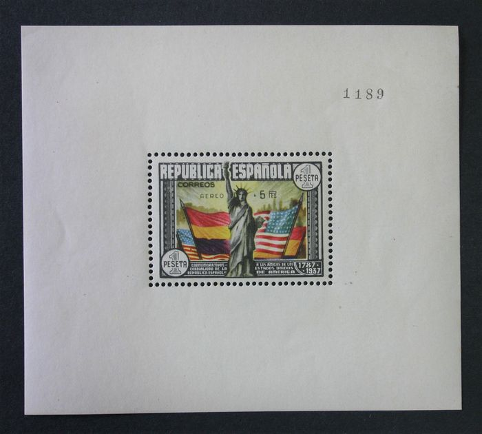 Spain 1938 - 150th Anniversary of the USA Constitution. Airmail. Graus certificate. - Edifil 766