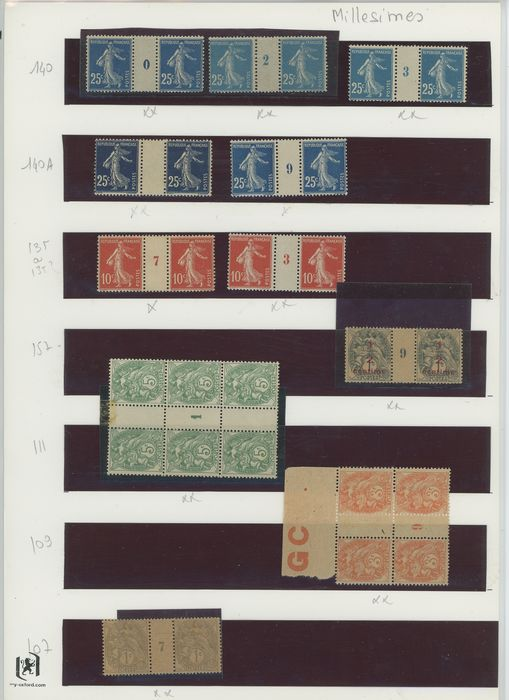 Frankreich 1900/1919 - A small set of Type Blanc and Semeuse stamps with vintages. - Yvert