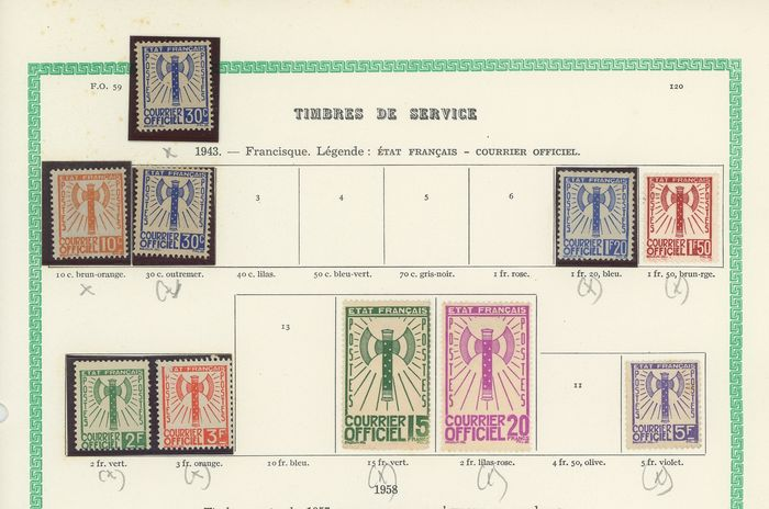 """Frankreich 1868/1943 - Set with end of catalogue, """"Francisque"""", military postage, telegraph stamps, cancelled, telephone - Yvert"""