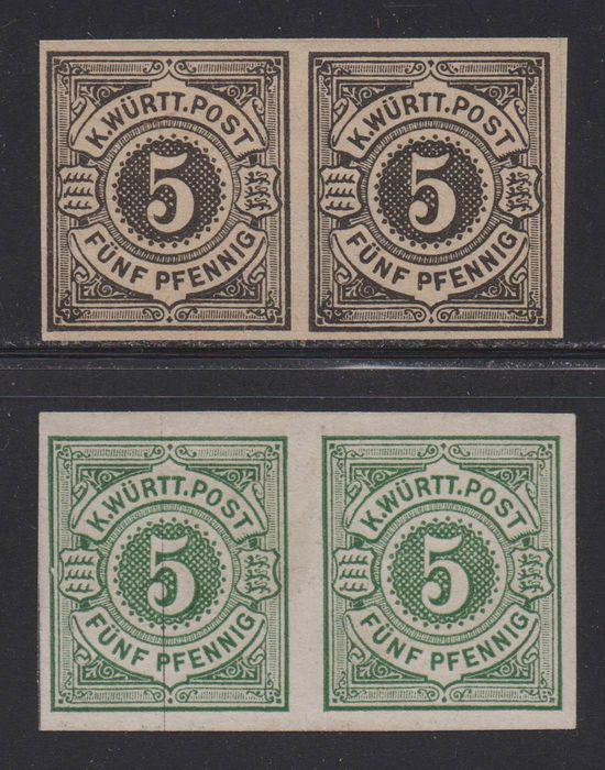 Württemberg 1890 - Two rare imperforate proofs as a pairs - Michel 56 PU, 56 PU3