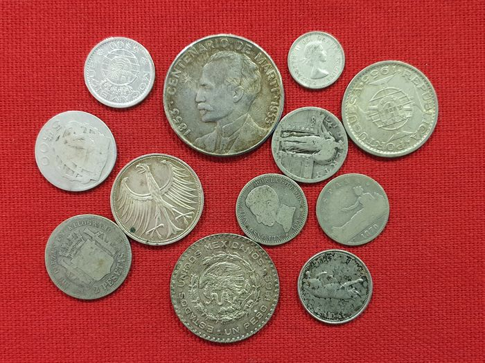 Wereld. Lot various coins 19th and 20th century (12 pieces)