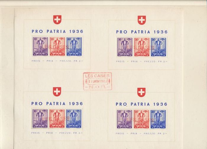 Schweiz 1936/1960 - Advanced collection of surcharge stamps with many block issues