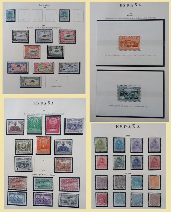 Espagne 1854/1961 - Collection of miscellaneous (airmail, blocks, official, telegraph etc.) on old album sheets.