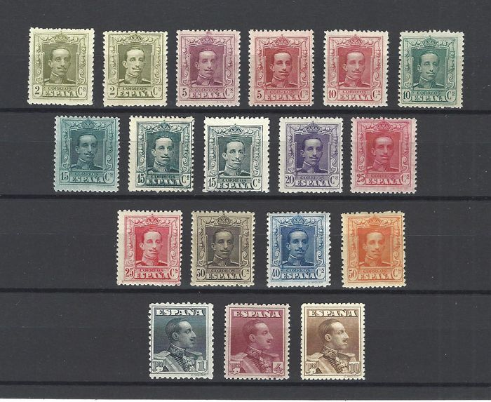 Spanje 1922/1930 - Alfonso XIII Vaquer type - well centred - Edifil 310/23+ As